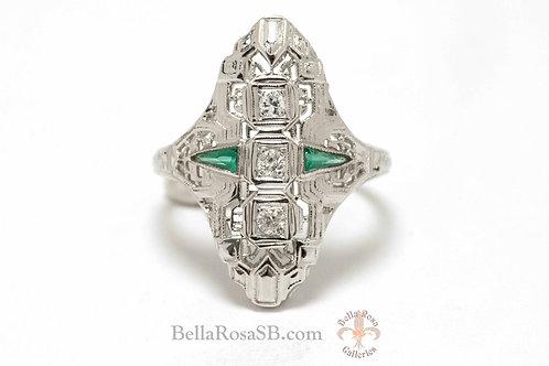 White Gold Shield Ring