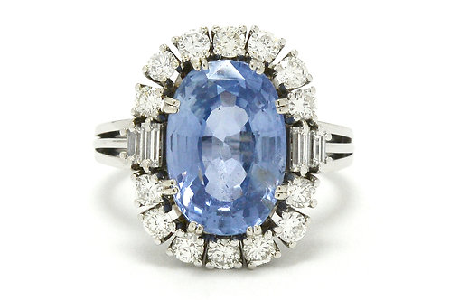 San Francisco certified no heat 7 carat ceylon sapphire engagement ring