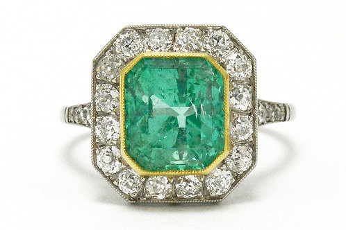 Engagement ring 3 carat Colombian emerald diamond halo
