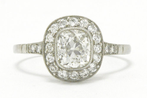 Engagement ring old mine cushion diamond halo target platinum