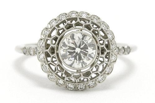Engagement ring Edwardian old European diamond platinum