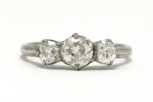 The Brooklyn 3 diamond antique engagement ring