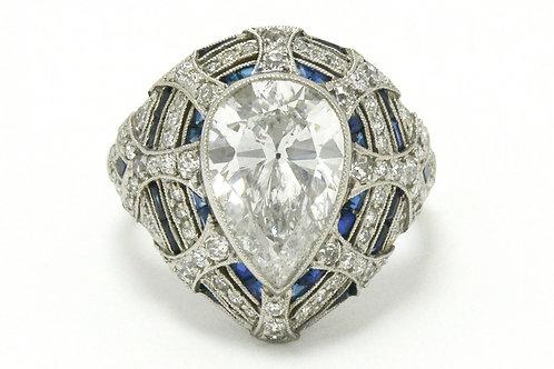 Beaumont estate 3 carat pear cut diamond engagement ring