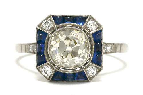 Old mine cut diamond blue sapphires ring