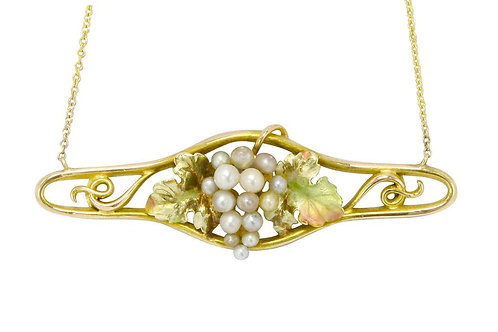 Art Nouveau seed pearl grape cluster necklace