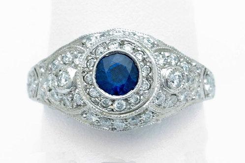 Round Sapphire With Diamonds