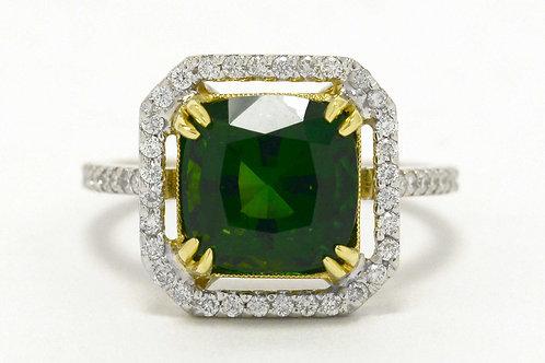 Chrome Tourmaline Diamond Halo Ring