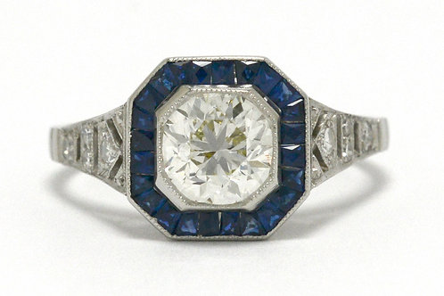 Round brilliant diamond octagon platinum rings