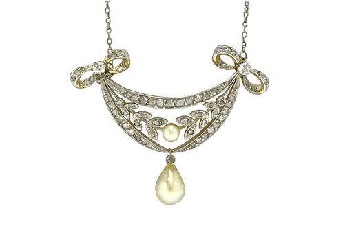 Art Nouveau Natural Pearl Diamond Lavaliere Drop Necklace Platinum Gold