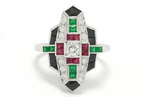Art Deco diamond and multi color gem engagement ring