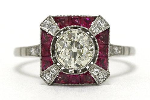 X Diamond Ruby Ring