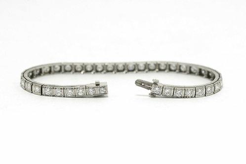 Gilbert Vintage Tennis Bracelet Diamond Line Rectangle Platinum Links On Sale