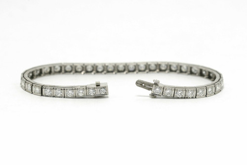 bbc722eb3ef Gilbert Vintage Tennis Bracelet Diamond Line Rectangle Platinum Links On  Sale
