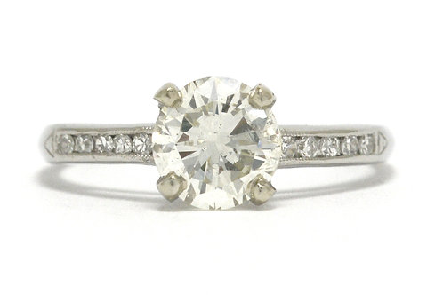 An engagement ring in platinum from the mid century 1960s