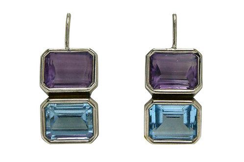 Drop earrings 14k white gold modernist design