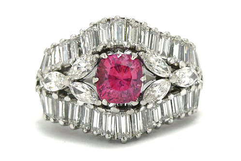Irving mid century pink sapphire and diamond cocktail ring