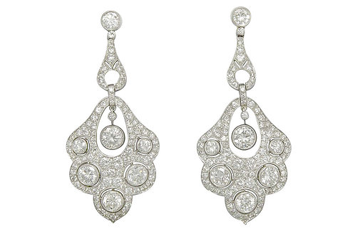 6 carats diamonds drop dangle platinum earrings