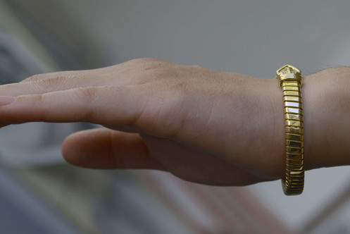 3a5e3b88df4 Diamond Snake Bracelet; Gold Flex Link Cuff; Bulgari Gold Diamonds Bracelet;  Designer Bulgari Cuff; Bangle Bracelet Retired Bvlgari ...
