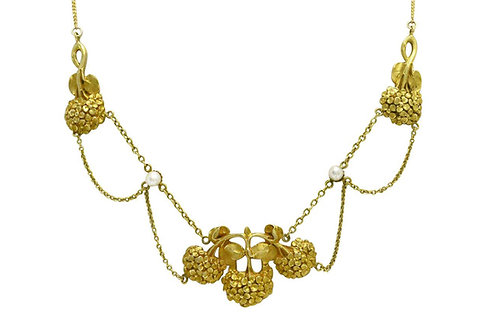 An Art Nouveau floral seed pearl necklace