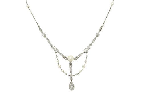 Art Nouveau Pearl Diamond Platinum Negligee Necklace