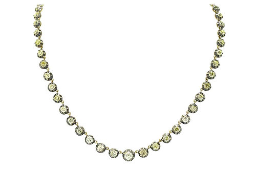 This antique Victorian riviere necklace tennis has 15 carats of diamonds.