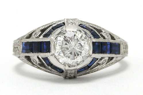 Diamond engagment ring blue sapphire white gold