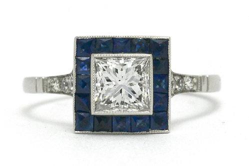 princess diamond sapphire halo engagement ring