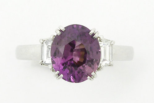 Richardson purple sapphire diamonds engagement ring 3 stones