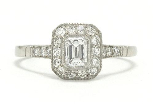 Diamond engagement ring platinum target Art Deco style