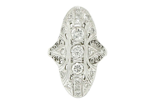 Lewisville filigree Art Deco diamond engagement ring