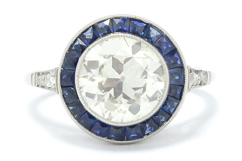 Irvine over 2 carat Art Deco old European diamond engagement ring