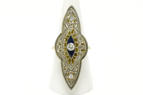 2 inch long diamond blue sapphire navette rings