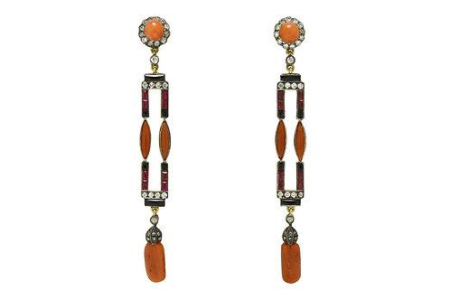Coral diamond ruby and onyx dangle earrings