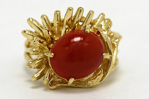 Coral Gold Brutalist Ring
