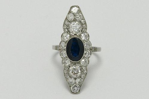 Palo Alto antique blue sapphire cocktail ring