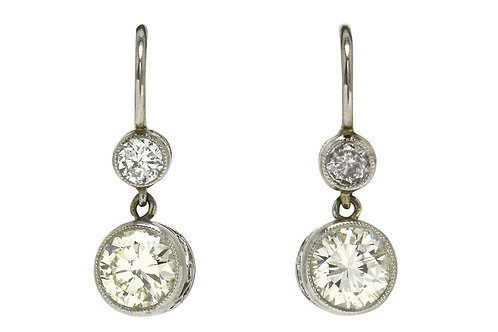 Over 1 carat 2 diamond platinum drop earrings