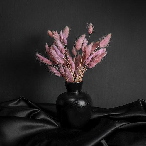 Purple Rabbits in Black Wood Vase