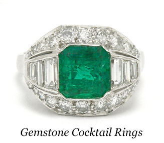 A Colombian emerald Art Deco cocktail ring.