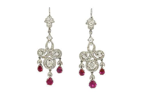 Edwardian revival platinum diamonds rubies earrings