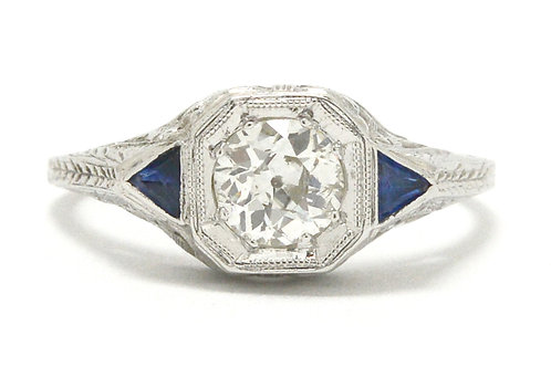 Mesa classic Art Deco diamond sapphire engagement ring
