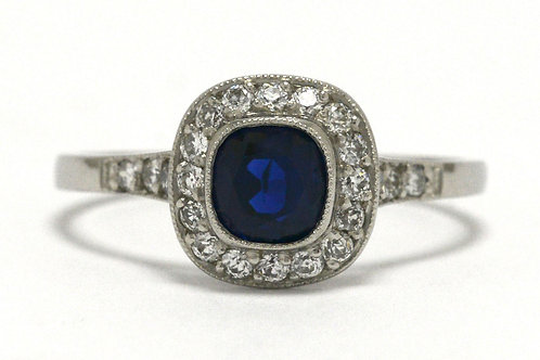 Antique cushion sapphire diamond halo engagement ring