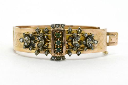 3b33e1b4f7c Plano Antique Cuff Bangle Bracelet Victorian Antique 18K Rose And Yellow  Gold