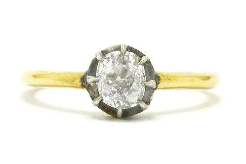 Georgian revival old mine cut diamond engagement ring.