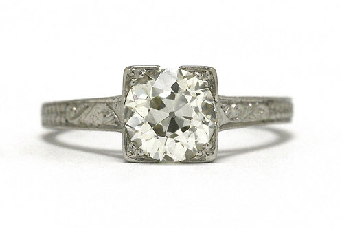 An Edwardian old mine diamond single gemstone solitaire ring