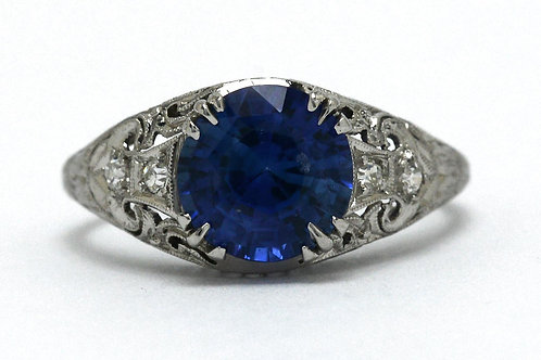 The Plymouth antique sapphire engagement ring