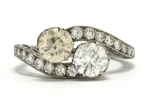 This engagement ring is a toi et moi diamond platinum Victorian design