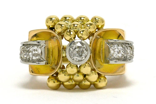 A Brutalist retro diamond cocktail ring