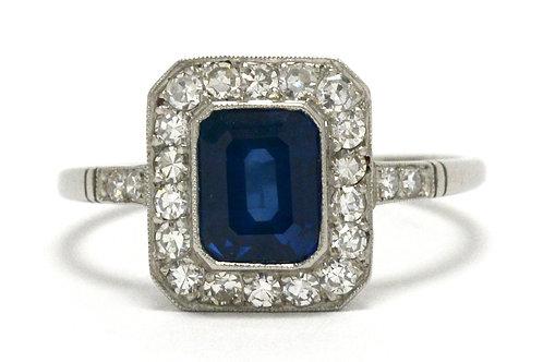 A 2 carat blue sapphire Art Deco engagement ring