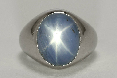 A Tiffany co unheated blue sapphire oval mens dome ring