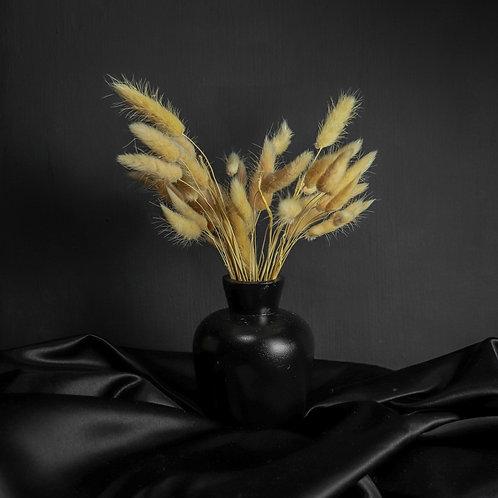 Beige Rabbits in Black Wood Vase